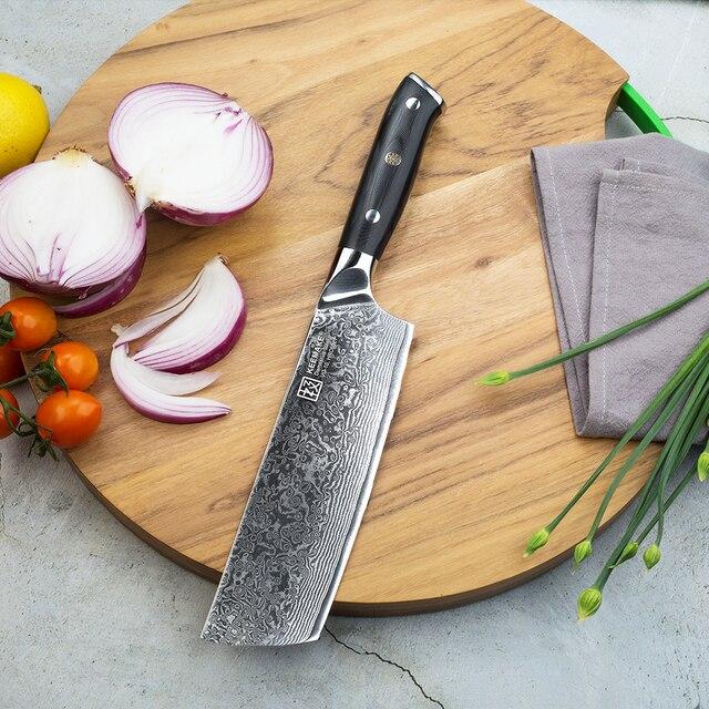 """KEEMAKE 7 """"Cleaver Bıçak Mutfak Şef bıçağı Japon 73 Katmanlar Şam VG10 Çelik Jilet Keskin Bıçak G10 Kolu Kesme araçları"""