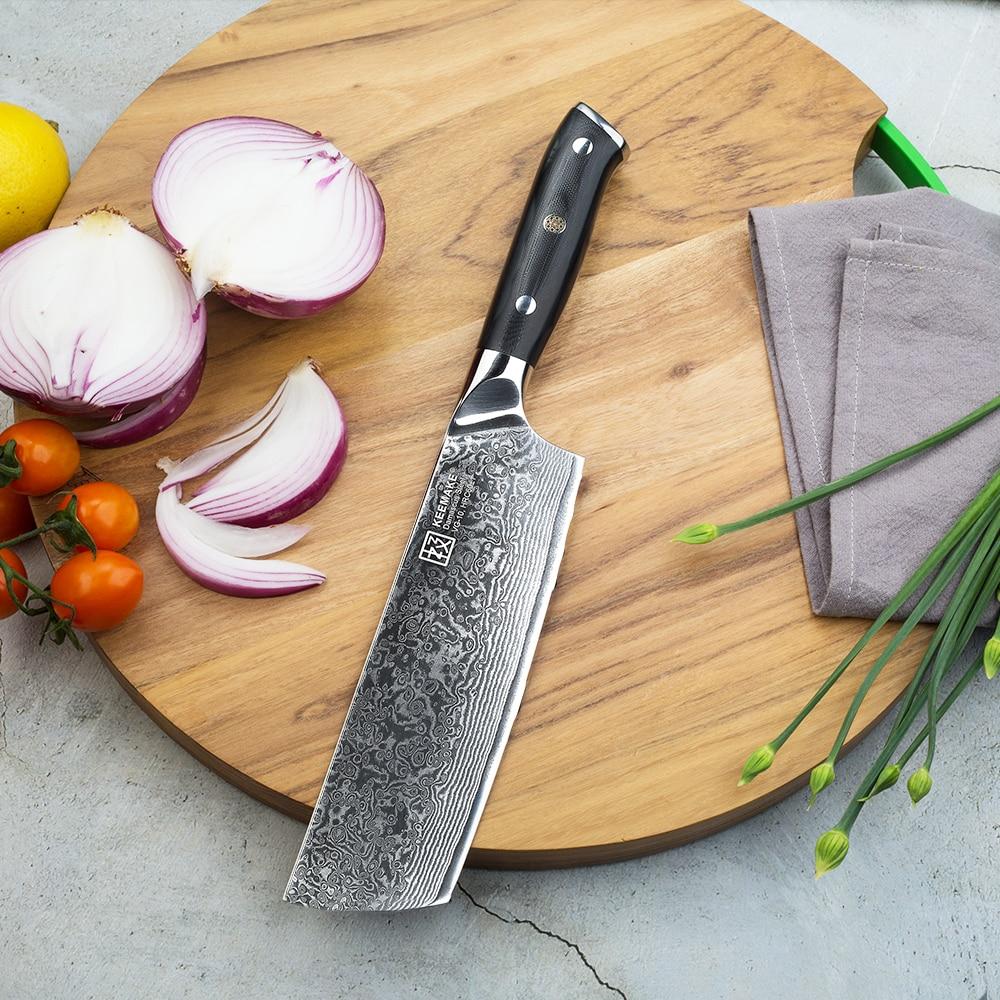 "Sunnecko 7 ""cleaver knife 주방 요리사 칼 일본 73 층 다마스커스 vg10 스틸 면도기 샤프 블레이드 g10 핸들 절삭 공구-에서주방 칼부터 홈 & 가든 의  그룹 1"