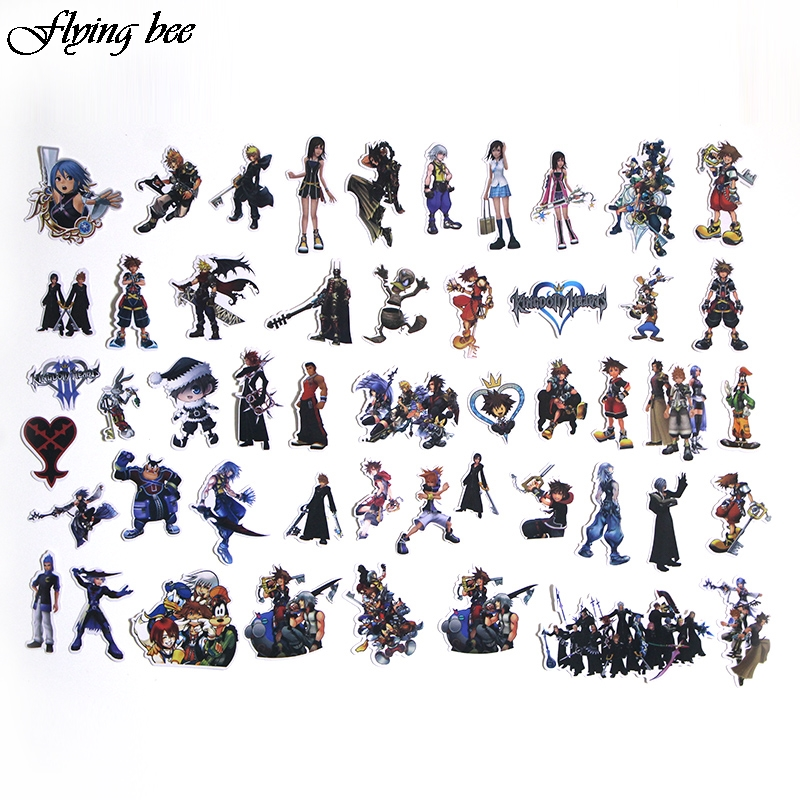 Image 3 - Flyingbee 50 Pcs Kingdom Hearts Waterproof Stickers Kids Toy Sticker for DIY Luggage Laptop Wall Car Phone Decoration X0038-in Stickers from Consumer Electronics