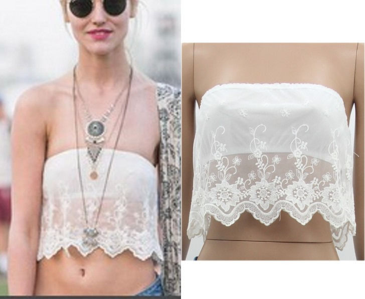 6a891651cd1 White Lace Womens Floral Tops Shirt Blouse Strapless Crop Boob Tube Top  Shirt