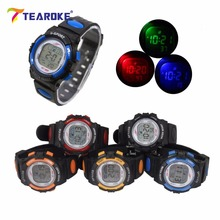 TEAROKE Kids LED Digital Sport Watch Women Men Change Color Alarm Date Outdoor Wristwatch Children Toy Clock Gift for Boy Girls