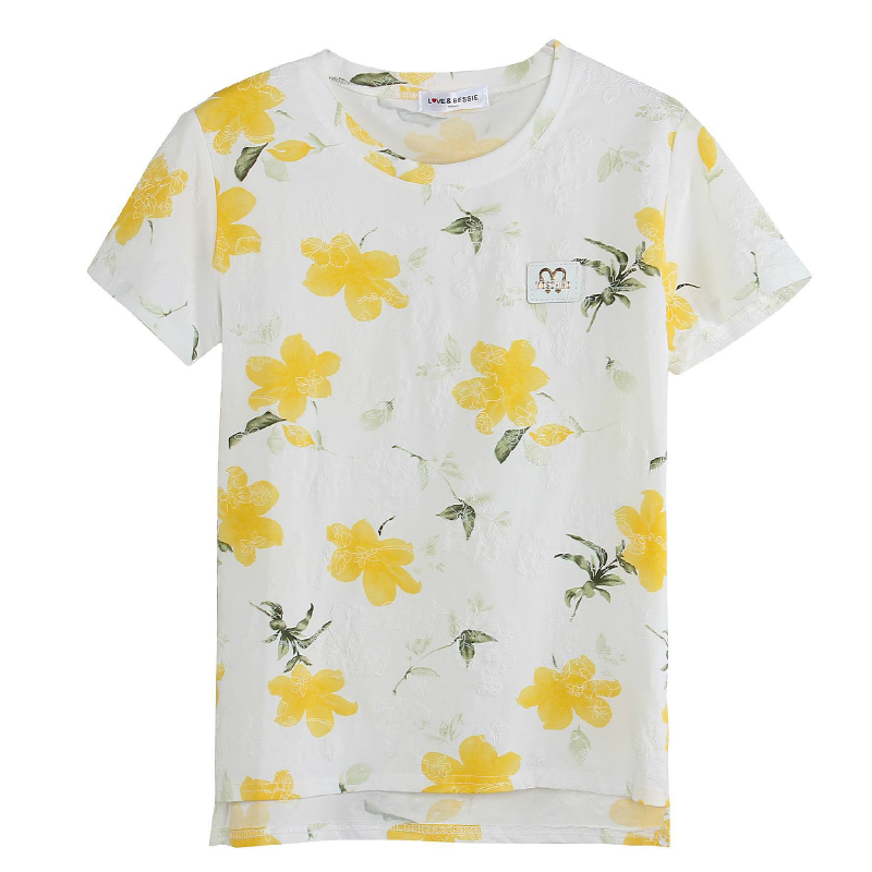 Wsfs Summer Tshirt Short Sleeve Yellow Blue Pink Floral Print T Shirt Stretch Cotton White Casual Tops Tees T-shirt Women Cloth