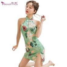 Cheongsam Sexy Lingerie Women Erotic Ladies Sex Underwear Womens Nightwear Nightdress Floral Print Dress Costumes