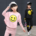 Children Girls clothing set 2017 spring teenage girls sport suit cartoon Smiley Faces chool kids tracksuit 4~12T girls clothes