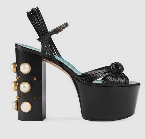 Plate or Femmes De Haute Chunky Sandales Super Dames Mode Ouvert À Noir or Talons Bout Talon Pour Noir Chaussures Perles forme Hauts rvq1wr