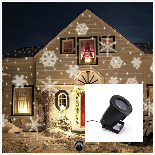 1X New Arrival 2016 Outdoor Christmas Led Light Projector, Romantic White  RGBW Snowflake Projectors,