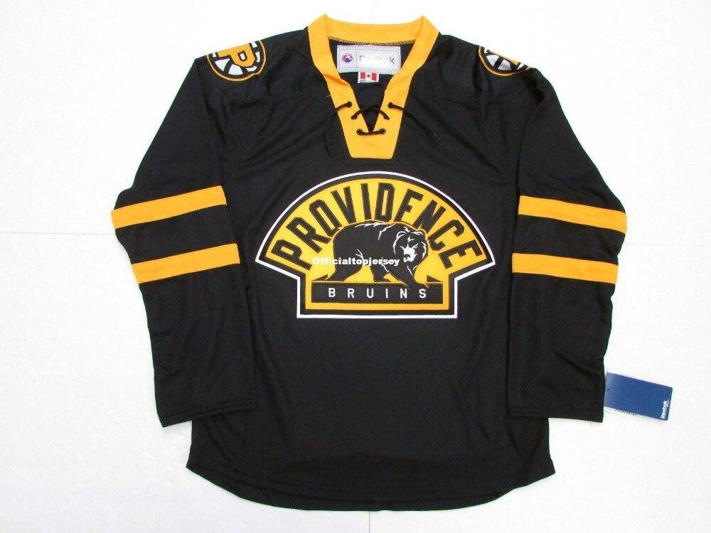 Providência Bruins Terceiro Premier Preto Personalizado Duplo Costurado Jerseys