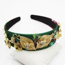 Gold Head Band Metal Jewel Headband Leaf Green Hair Accessories Vintage Flowers Luxury Jeweled Women Gem Gemstone Hairband