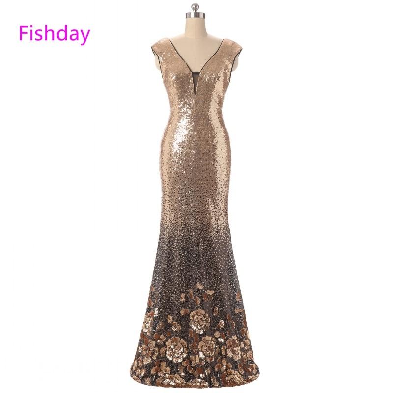 Fishday Evening Dress Sequined Flower Mermaid Sexy Abendkleider Elegant Party Formal Robe de Soiree Off Shoulder Women Sale B20