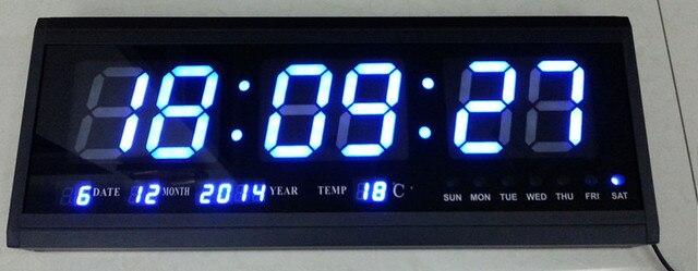 Calendario Elettronico.Us 84 0 30 Di Sconto Ht4819sm 5 Trasporto Libero Alluminio Grande Led Digital Orologio Da Parete Grande Orologio Moderno Design Orologio