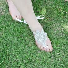 1397ed7445f5ee 2019 Luxury rhinestones foot ring barefoot sandals beach wedding anklet  white sexy jewelry wedding shoes