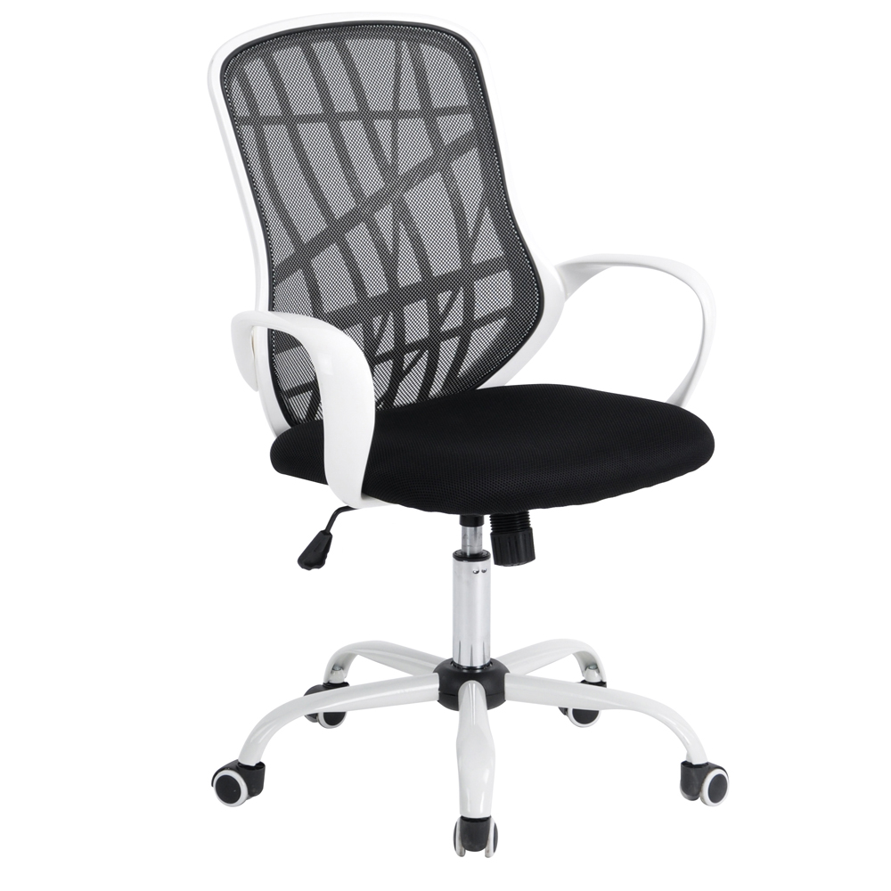 Black and white office chair - Aingoo White Base Office Chair With Arms Office Computer Chair Breathable Mesh One Height Adjustable Office