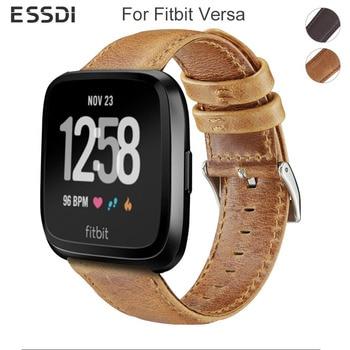 Essidi Durable Leather Bracelet Strap For Fitbit Versa Women Men Smart Watch Band Loop For Fitbit Versa 2 Fitness Bracelet