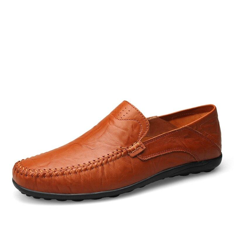 uomini da comfort marca 47 37 appartamenti arancione scarpe degli nero mocassini cuoio moda di qualità del blu Big 2017 giallo guida alta Size morbida marrone genuino ZqHtxwFT8n