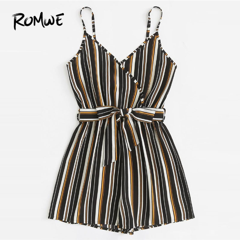 Romwe Self Tie Waist Striped Cami Romper 2018 Mid Waist Sleeveless Casual Playsuit Summer Belted Straight Leg Women Romper by Romwe
