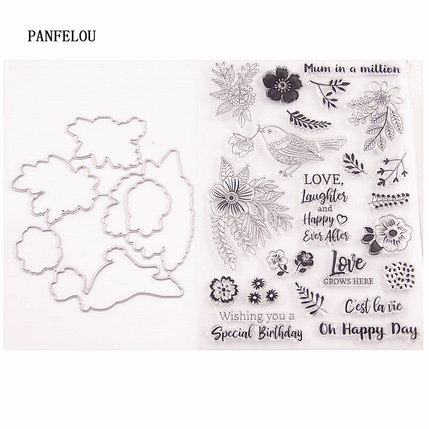 Happy Birthday Mum in a Million Love Laughter Flowers Bird Clear Stamps for Cards Making Decoration and Scrapbooking Rubber Stamps for Craft