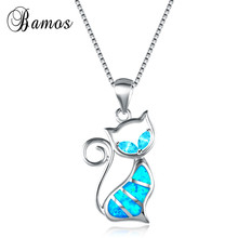 Bamos Stylish Female Kitty Jewelry High Quality 925 Sterling Silver Filled Blue Fire Opal Cat Pendant Necklace For Women NL0077(China)