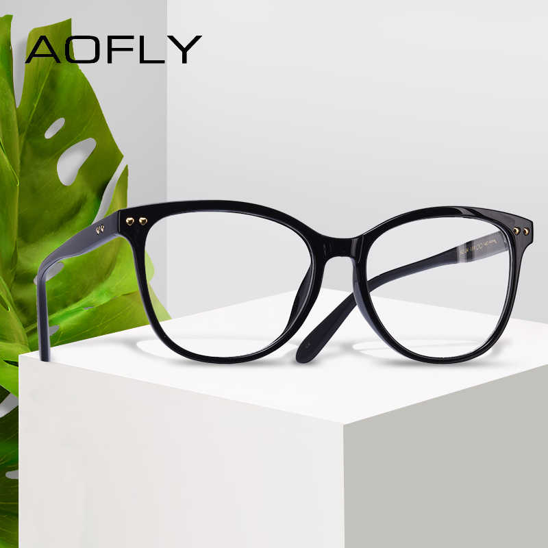 d1bc600d481 AOFLY BRAND DESIGN Women Plain Glasses Fashion Eyeglasses Frame Classic Eyewear  Vintage Reading Optical Clear Lens