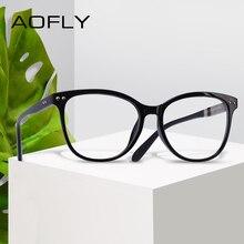 AOFLY moda gözlük kadın perçin tasarım büyük boy yuvarlak optik çerçeve klasik gözlük Vintage okuma şeffaf Lens AF9205