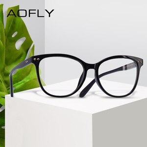 Image 1 - AOFLY modne okulary kobiet konstrukcja nitów ponadgabarytowych okrągłe oprawki optyczne klasyczne okulary w stylu Vintage do czytania przezroczyste soczewki AF9205