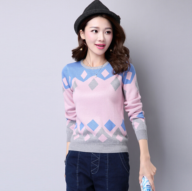 Autumn and winter new arrival womens plaid sweater design basic shirt loose thick o-neck pullover sweater jumper