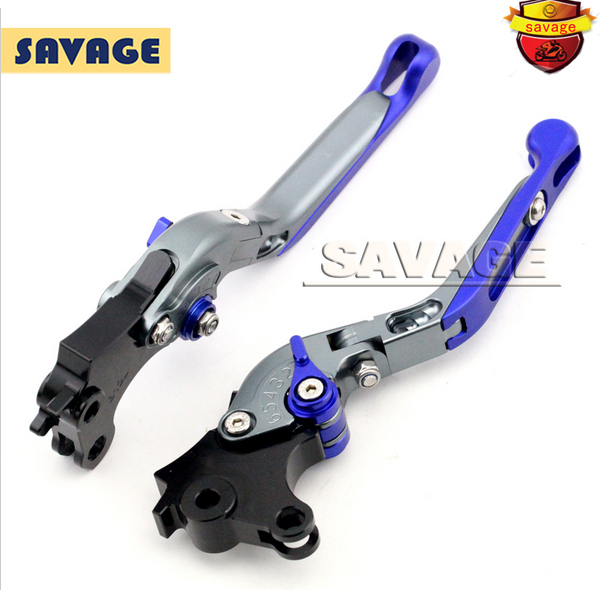 ФОТО For BMW R1200 GS 2013-2015 R1200GS ADC 2014-2015 Titanium+Blue Motorcycle CNC Aluminum Folding Extendable Brake Clutch Levers