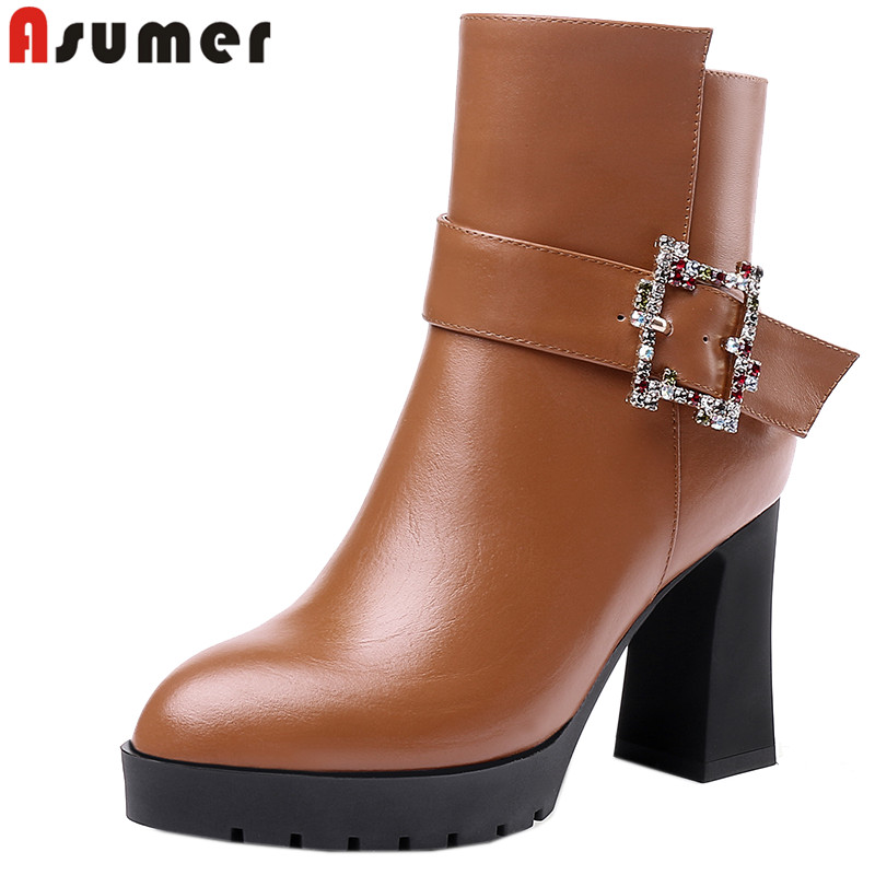 ASUMER 2019 fashion new ankle boots for women round toe zip genuine leather boots high heels shoes platform autumn winter boots autumn and winter high quality new arrive genuine leather simple zip ankle boots fashion round toe sweet women boots