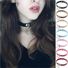 Sitaicery Trendy Sexy Punk Gothic Leather Circle Choker Necklace Vintage Charm Round Collar Necklaces Lovers Women Jewelry Gift