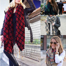 2015 Lady Women Winter Autumn Large Blanket Oversized Shawl Plaid Check Tartan Scarf Wrap