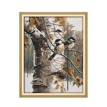 الحيوان الطيور الخريف عرض الأثاث الخياطة المطبوعة عبر الابره عدة التطريز Diy بها بنفسك اليدوية لوحات الزخرفية DMC الإبرة