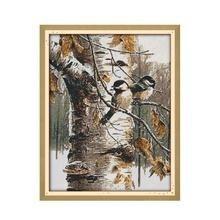 Animal pássaro outono vista mobiliário costura impresso ponto cruz kit bordado diy pinturas decorativas artesanais dmc needlework