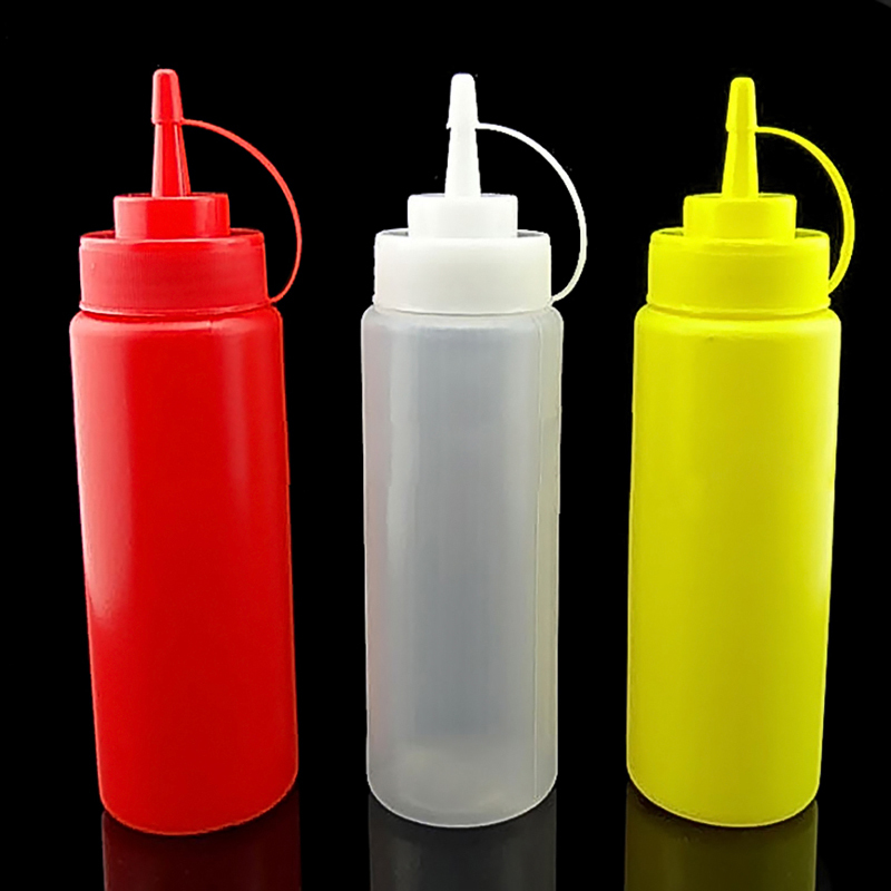 1Pc 240ml 8OZ Squeeze Bottle Ketchup Tomato Sauce Mustard Soybean Curry Sauce Vinegar Container Drop Shipping image