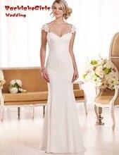 Free Shipping Luxurious Garden Vestido de Noiva Sheath Bridal Dresses Lace Train Sleeveless Custom made Wedding Dress 2017