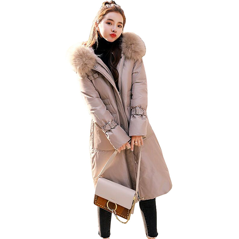 90% White Duck Down Jacket 2018 Winter Jacket Women Warm Large Real Raccoon Fur Collar Hooded Slim Long Down Coat Parka Womens