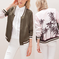 New Arrival American Casual Style Palm Tree Pattern Bomber Jacket Women Fashion Coat