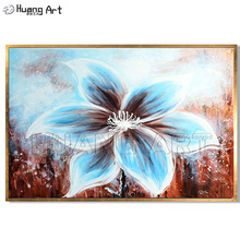 New Style 100% Hand-painted Modern Big Flower Oil Painting on Canvas for Bed Room Decor Handmade Blue Hang