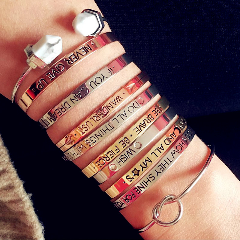 Fashion accessories jewelry brave letter wish design cuff bangle lovers gift b3401