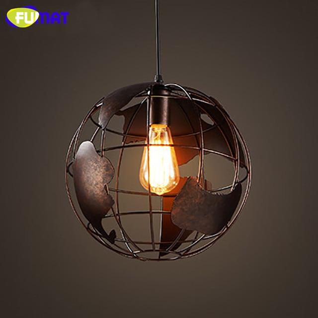 FUMAT Vintage Globe Pendant Light Loft Industrial Hanging Light ...