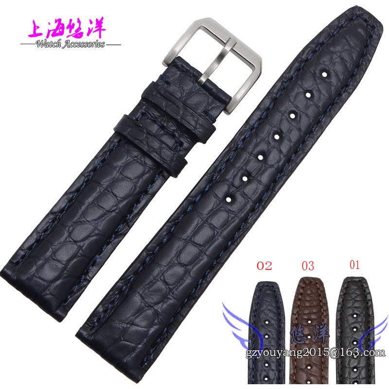 Crocodile leather strap for Portugal s pilot BaiTao thin straps Male 20 21 22 mm