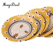 MagiDeal 10Pcs Practical Portable Disposable Paper Hony Bee Plates Wedding Birthday Party Banquet BBQ Tableware DIY