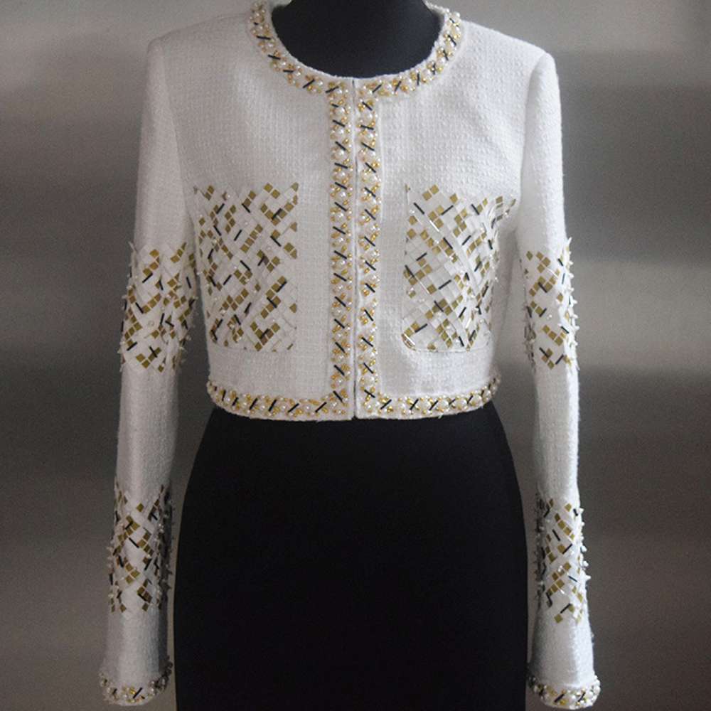 Cultures Femme Mince Hauts Style Mode Perles Cou Veste Blanc 2019 Pillée Étoile De Couvert Tweed O Court Piste Lourde Bouton WawBzwUHY