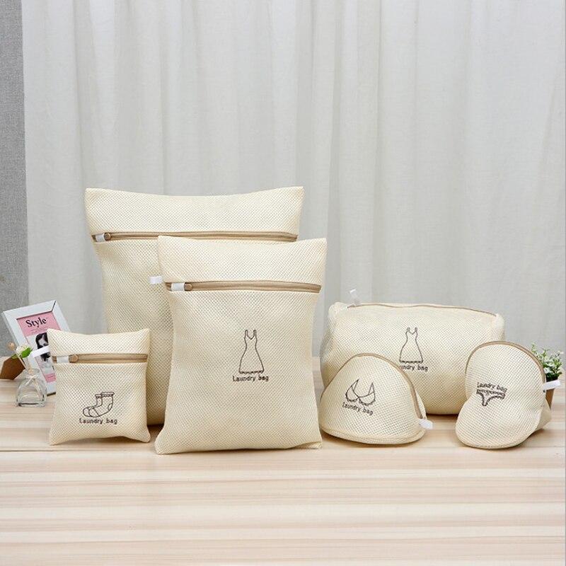 6Pcs Zipped Mesh Laundry Bags For Washing Machine/Bra Underwear Underpants Zip Laundry Bag Machine Wash Bag