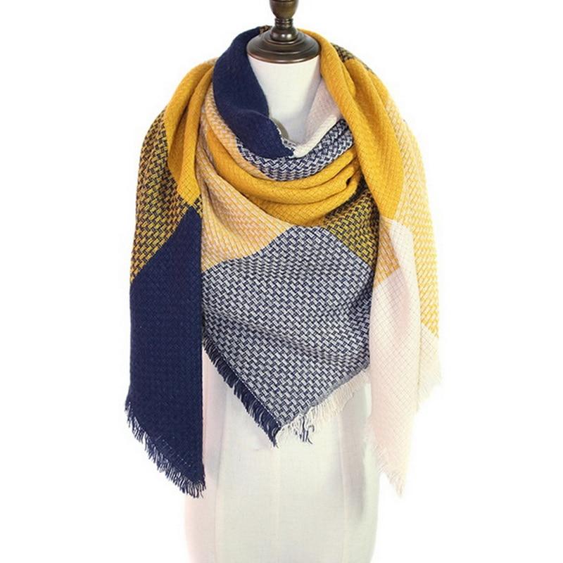 Women Plaid Winter Scarf Ladies Brand Warm Scarves Fashion Triangle Winter Shawl Blanket Scarf Female Dropshipping Gift140x140CM