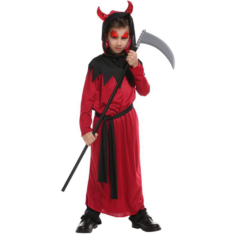 Kids Child Boys Red Black Devil Demon Robe Costume Halloween Purim Party Carnival Fancy Cosplay Costumes