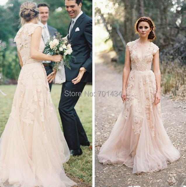 Vintage Cap Sleeves Ruffles V Neck Layered Lace Bridal Gowns Blush