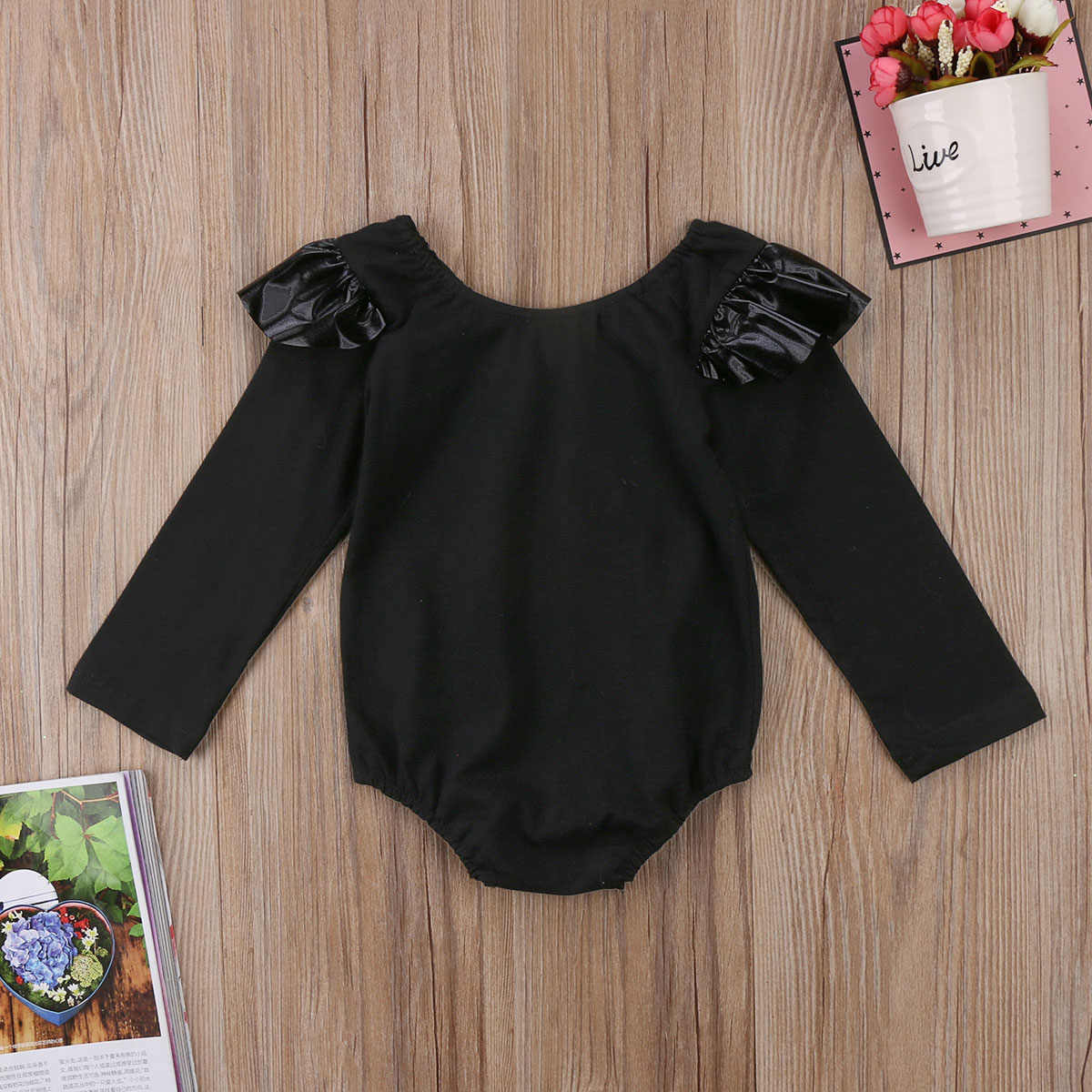12572c63586 ... One Piece Black Cute Newborn Infant Baby Girl Boy Ruffle Long Sleeve  Letter Romper Jumpsuit Outfits
