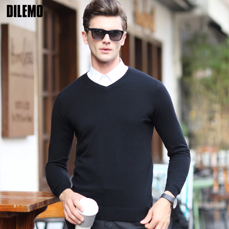 2020 Top Grade New Fashion Brand Sweater Mens Pullover V Neck NeSlim Fit Jumper Knitting Autumn Korean Style Casual Mens Clothes