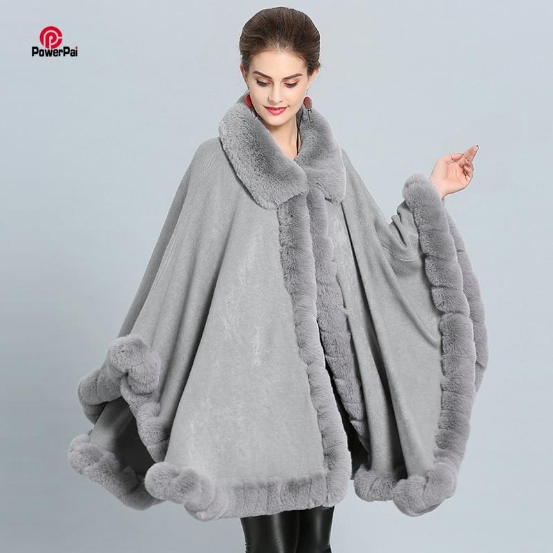 PENER Womens Faux Fox Fur Trim Cape Wool Blend Cloak