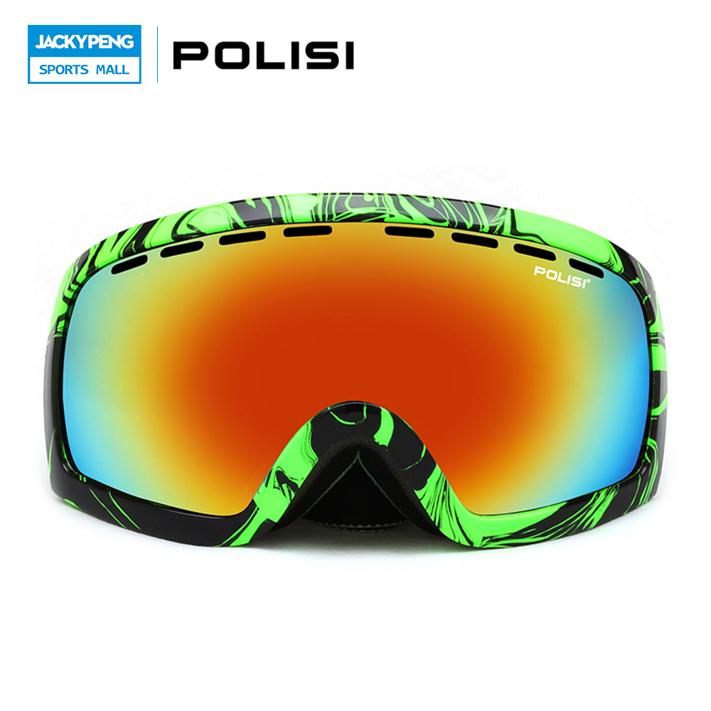 POLISI Snowboard Skate Goggles Windproof Double Layer Anti-Fog Lens Skiing Glasses Polarized Outdoor Snowmobile Snow Eyewear foldable anti glare polarized windproof goggles anti fog glasses unisex