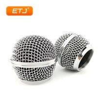 เงิน 2pcs SM58s/Beta58 ตาข่าย Grille Ball บอลโลหะสำหรับ Shure ไมโครโฟนอุปกรณ์เสริม
